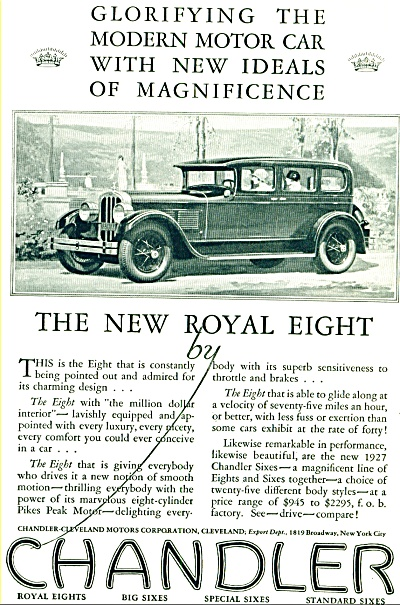 1927 -  Chandler royal eight automobile ad (Image1)