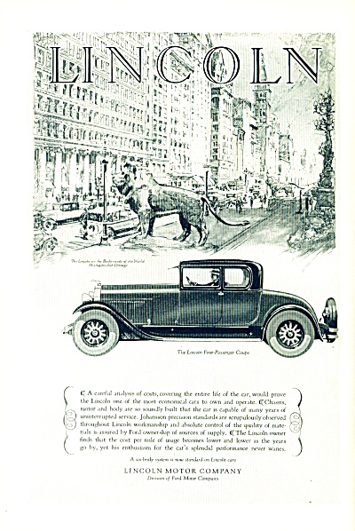 1927 -  Lincoln  four passenger coupe ad (Image1)