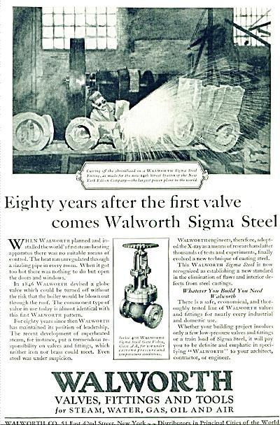 1927 - Walworth valves, fittings & tools ad (Image1)