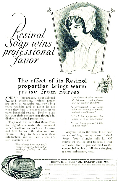 1923 AD Resinol SOAP Vintage Nurse Artwork  (Image1)