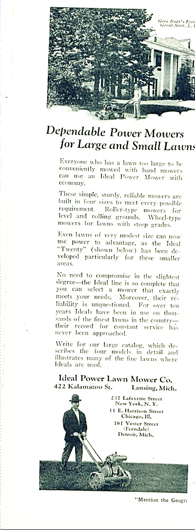 1927 -  Ideal power lawn mower co. ad (Image1)