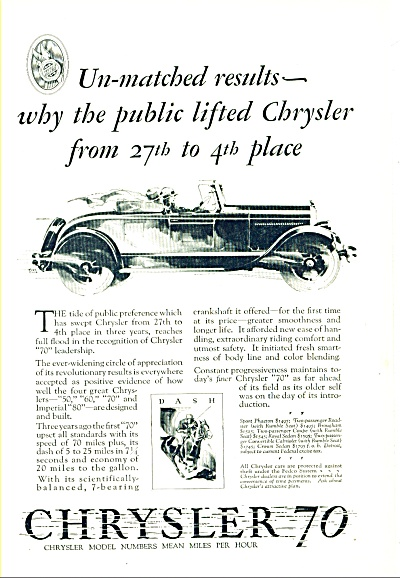 1927 -  Chrysler 70 automobile ad (Image1)