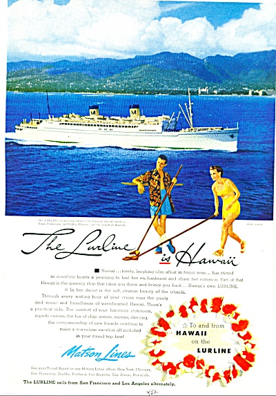 1952 -=  The Lurline is Hawaii ad (Image1)