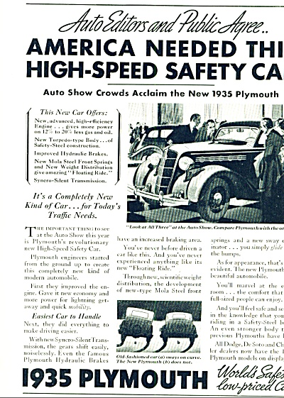 1935 - Plymouth Automobile Car Ad