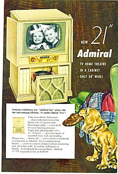 1952 = Admiral Tv Home Theatre Ad