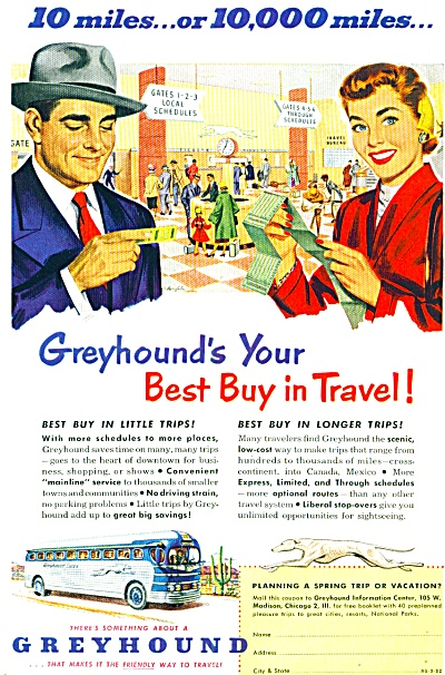 1952 =- Greyhound Bus Lines Ad