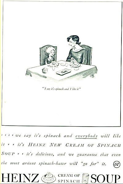 1935 - Heinz Cream of spinach soup ad CARL ROSE CARTOON (Image1)