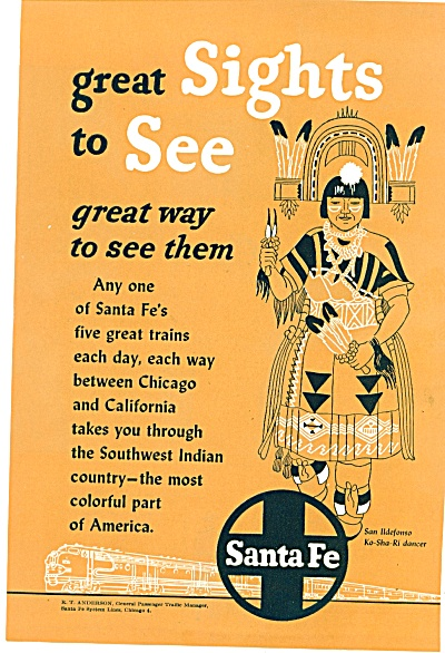 1952 - Santa Fe railroad ad TRAIN DO SHA RI DANCER (Image1)