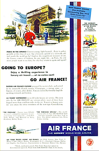 1952 - Air France Airlines Ad