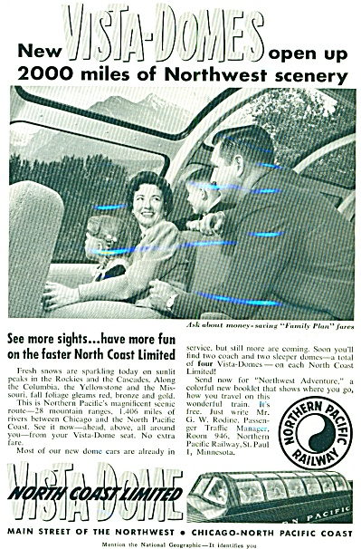1954 - Northern Pacific Railway Ad