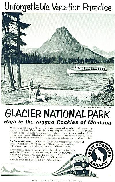 1958 - Glacier National Park ad -Gr.Northern (Image1)