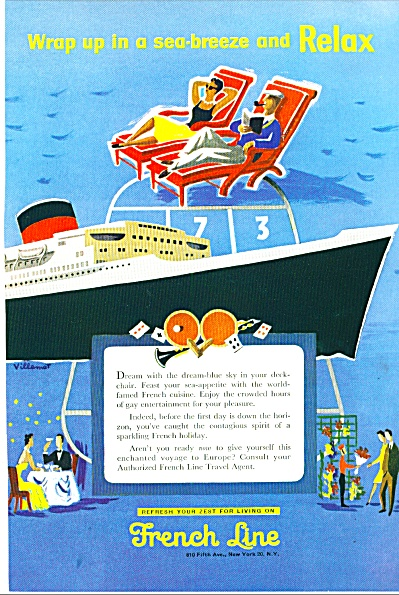 1955 - French Line travel ad. (Image1)