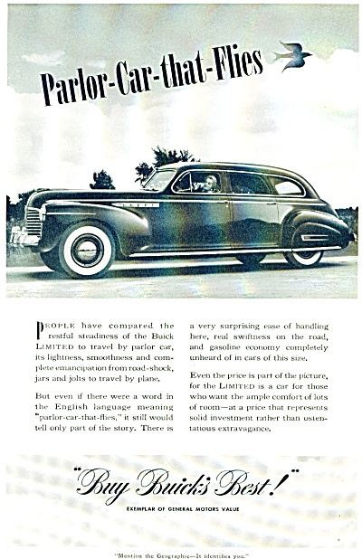 1941 - Buick automobile ad PARLOR CAR THAT FLIES (Image1)