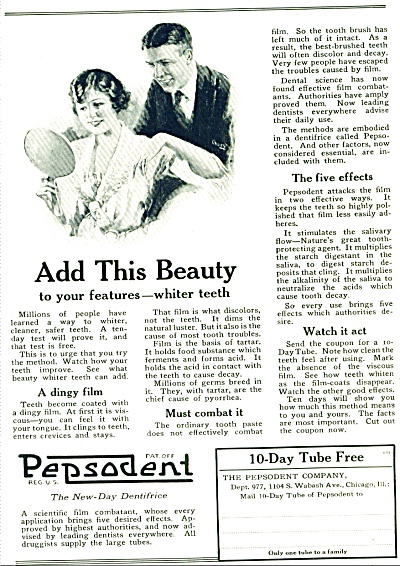 1921 - Pepsodent Tube Paste Ad