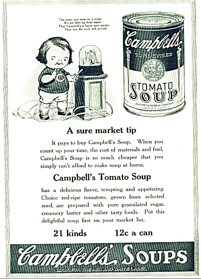 1921 - Campbell's Soups Ad -tomato Soup