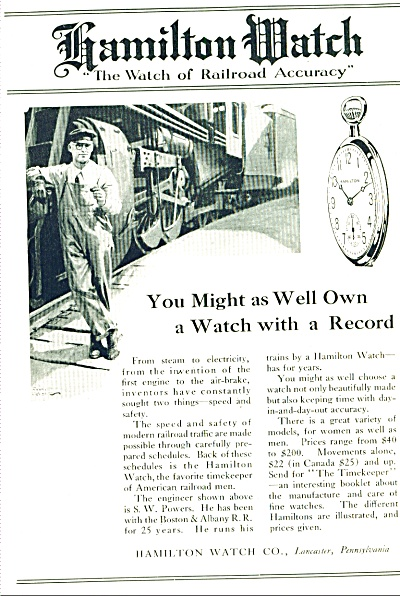 1921 Ad Hamilton Watch Railroad Train Conductor