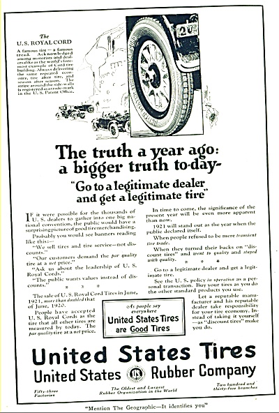 1921 - United States Tires ad (Image1)