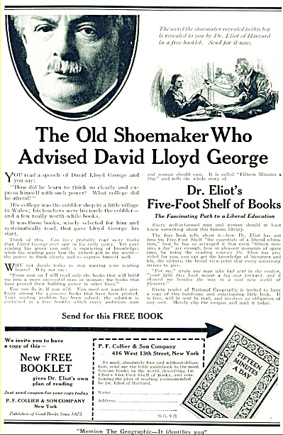 1921 - Dr. Eliot's 5 foot shelf of books ad (Image1)