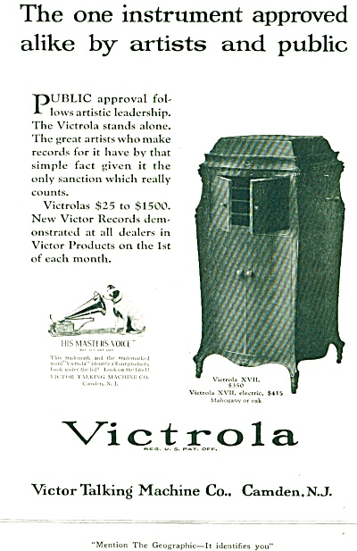 1921 - Victrola talking machine ad (Image1)