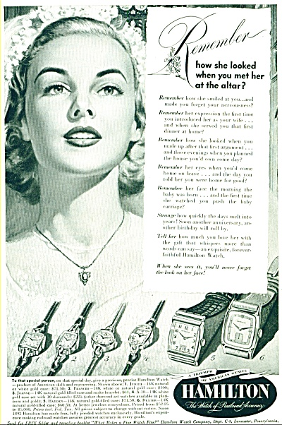 1949- Hamilton Watch Co. Ad