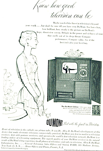 1949 - Dumont television ad (Image1)
