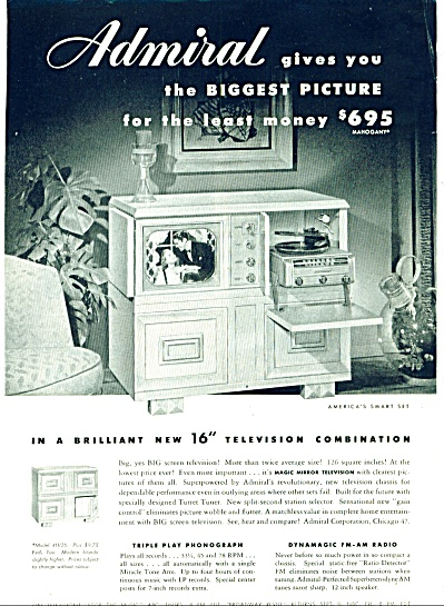 1949 - Admiral Tv, Phonograph & Radio Ad
