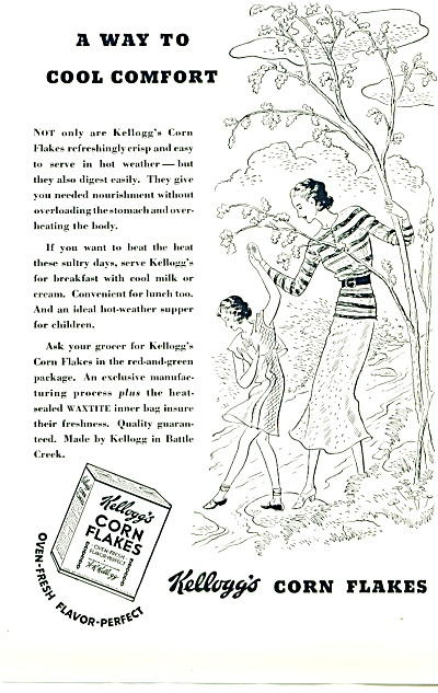 1935 - Kellogg's corn flakes ad ~ COOL COMFORT ARTWORK  (Image1)