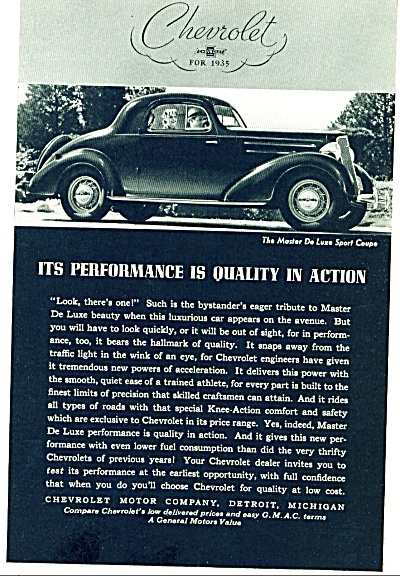 1935 - Chevrolet Chevy Deluxe Sport Coupe Car Ad