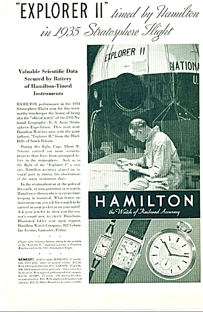 1935 -  Hamilton Watch AD Stratosphere Flight 3 Models  (Image1)
