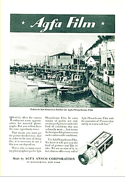 1935 Agfa Ansco Film AD ~San Francisco CA Harbor Fishin (Image1)