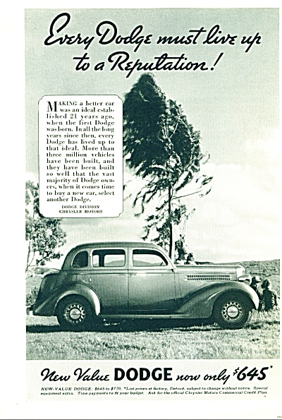 1935 Dodge Car AD ~ Now $645 ~ Photo B/W Automobile  (Image1)