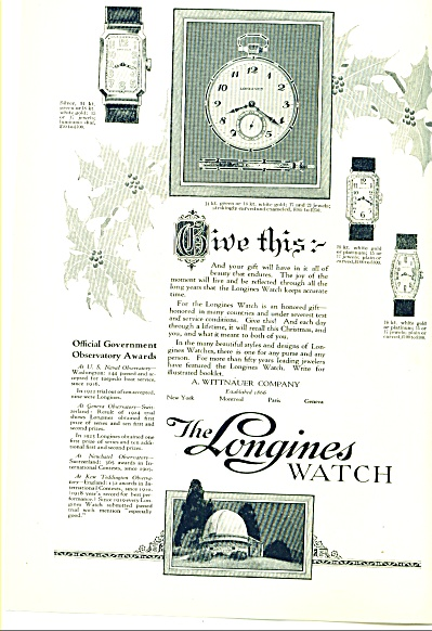 1924 - The Longines Watch Ad