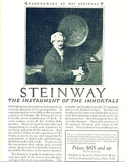 1924 - Steinway Piano Ad