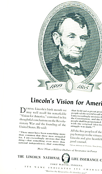 1941 - The Lincoln National Life Ins. co. ad (Image1)