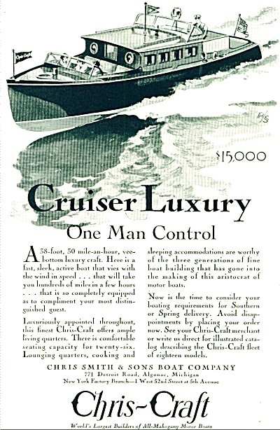 1929 - Christ Craft Boats Ad