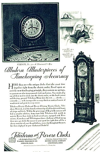 1929 - Telechron and Revere clocks ad (Image1)
