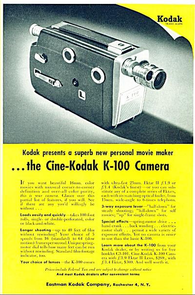 1955 - Cine Kodak K-100 camera ad (Image1)