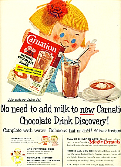 1955- Carnation instant chocolate drink ad (Image1)