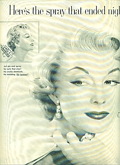1955 - Revlon Satin Set Spray Ad