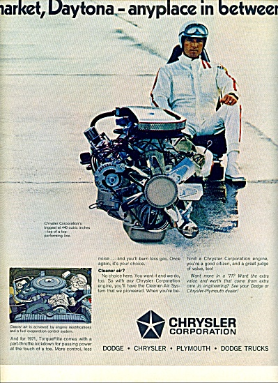 1970 -  Chrysler Corporation AD DAYTONA ENGINE (Image1)