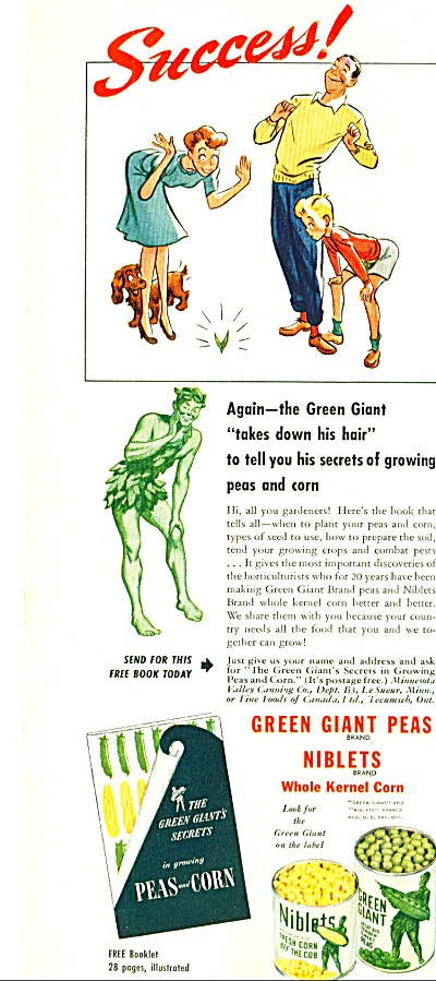 1944 - Green Giant Peas And Niblets Corn Ad