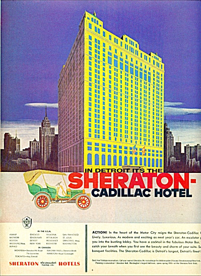 1955 -  Sheraton Cadillac Hotel in Detroit ad (Image1)