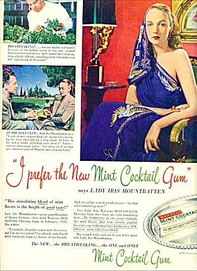 1947 - Warrens mint cocktail gum ad (Image1)