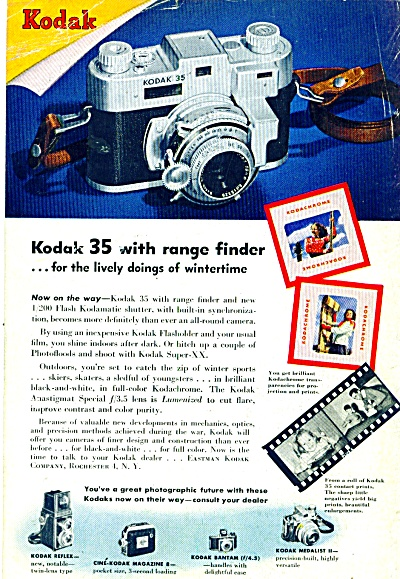 1947 - Kodak 35 with range finder camera ad (Image1)