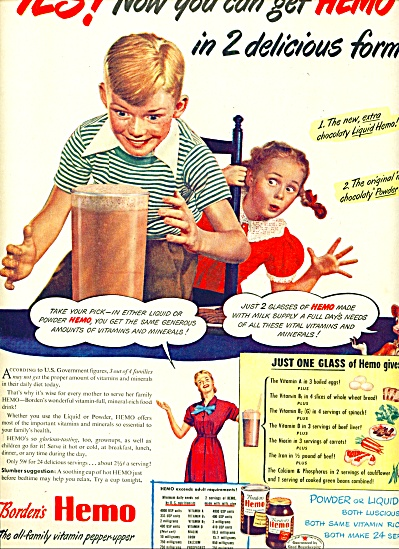 1946 - Borden's Hemo Liquid Or Powder Ad