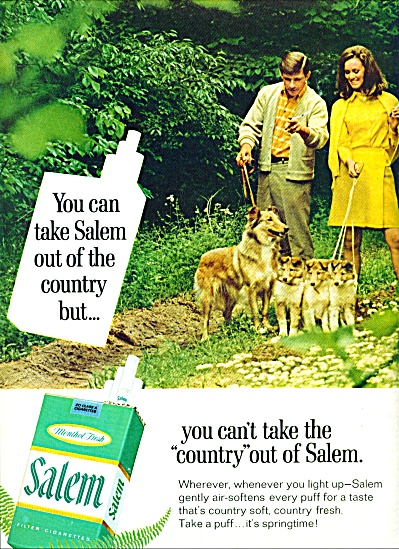1968 -  Salem cigarettes ad COUPLE AND COLLIE DOGS (Image1)
