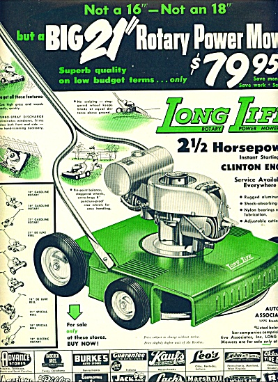 1955 -  Long Life rotary power mower ad (Image1)