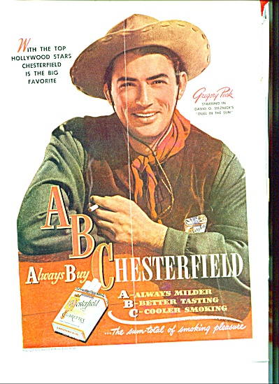 1947 -  Chesterfield cigarettes-GREGORY PECK (Image1)