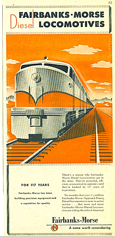 1947 - Fairbanks-morse Locomotives Ad