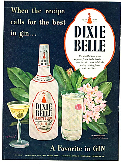1947 -  Dixie Belle distilled gin ad (Image1)